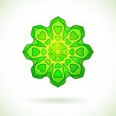 Green flower ornament with hearts on the petals, Isolated design element, Vector illustration