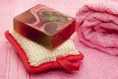 Soap, Washcloth, Towel. - Stock Image