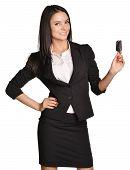 Beautiful girl broker holding sale auto key