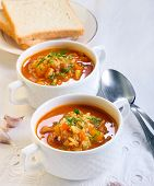 picture of butternut  - Chunky butternut mulligatawny soup in white  bowls - JPG