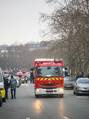 PARIS, FRANCE - JANUARY 7, 2015 Street of Paris after the  Terror attack in Paris at the Charlie Hebdo newspaper JANUARY 7, 2015 PARIS FRANCE