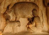 pic of arjuna  - Krishna Mandapa in the Mahabalipuram Scene show Krishna lifting Tamil Nadu India - JPG