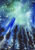 Abstract Blue And Green Starry Sky Background