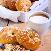 Homemade Bagels, And Cup Of Coffee