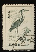 North Korea - 1965: Postal Stamp Printed In North Korea Shows An Image Of An Heron Crested On A Whit