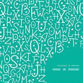 Vector white on green alphabet letters frame corner pattern background
