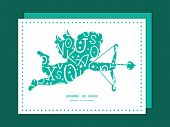 Vector white on green alphabet letters shooting cupid silhouette frame pattern invitation greeting c