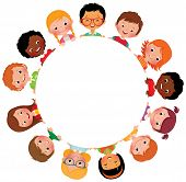 pic of little kids  - Stock vector illustration of kids friends from around the world around the white circle - JPG