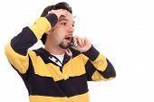 Shouting Man Talking On A Mobile Phone