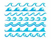Water Waves Design Elements Vector Set
