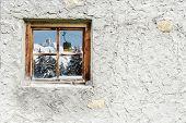 Gondola in the Alps in the window
