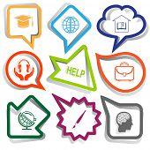 Education set. Paper stickers. Vector illustration.