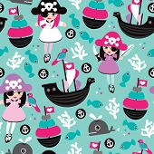 Seamless princess pirate coral fish and little cute whale illustration background pattern in vector