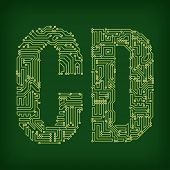 PCB letter and digits. Vector illustration.