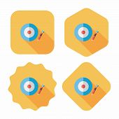 Darts Target Flat Icon With Long Shadow,eps10