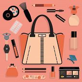 Fashionable women purse and cosmetic set in pink and coral