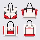 Fashionable women red black and white purse icons set