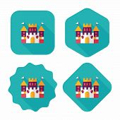 Castle Flat Icon With Long Shadow,eps10