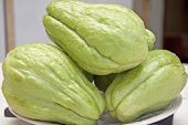 fresh green chayote(Sechium edule).