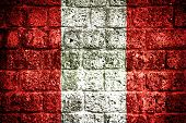Peru flag on old brick wall