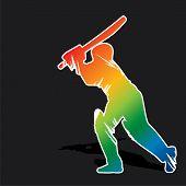 creative abstract cricket player design