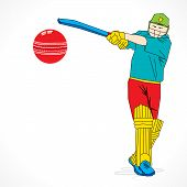 creative abstract cricket player design by