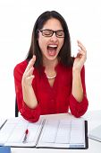 Business Woman worker having headache and stress.