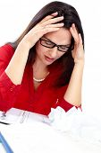 Business Woman worker having headache and stress.