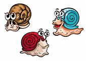 Three smiling colorful cartoon snails