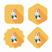 pic of wild-rabbit  - Rabbit Flat Icon With Long Shadow - JPG