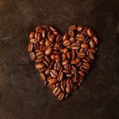 heart coffee made from coffee beans
