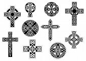 Black and white decorative Christian crosses