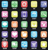 Set Of Social Media Buttons For Design. Flat Outline Style Design - Part 1