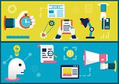 Vector Flat Illustration Concepts Of Business Process And  Planning. Startup And Results