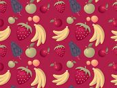 Fruit mix seamless pattern background - vector
