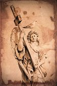 Grunge Textured Marble Statue Of An Angel, In Rome, With Cross And Seagull