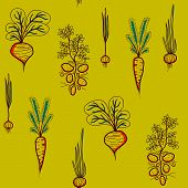 Growing Vegetables illustration - Potato, Carrot, Garlic, Beetroot, and Onion.