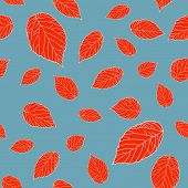 Red raspberry leaves on a grey field. Contrast seamless pattern.