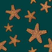 Orange starfishes on a dark green background. Contrast seamless pattern.