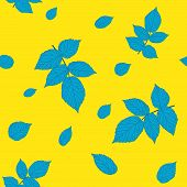 Contrast yellow and blue colored seamless pattern with raspberry leaves.