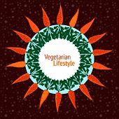 Vegetarian party invitation. Vegan poster. Hand drawn vector illustration.