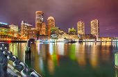 Boston harbor and Financial District