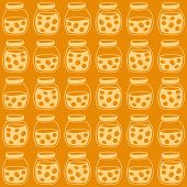 picture of apricot  - Bright seamless pattern with the apricot jam jars - JPG