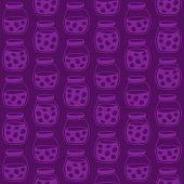 Dark seamless pattern with the plum jam jars.