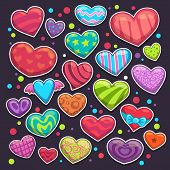 Big set of bright colorful heart stickers