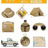 pic of binoculars  - Vector travel icons set 3 including hat - JPG