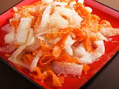 stock photo of turnips  - Healthy carrot and turnip salad with sesame close up - JPG
