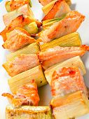 stock photo of leek  - Salmon skewers with leek shot from above - JPG