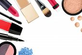 image of cosmetic products  - Beautiful decorative cosmetics and makeup brushes isolated on white - JPG