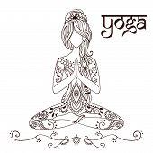 stock photo of yoga  - Ornament beautiful card with Vector yoga - JPG